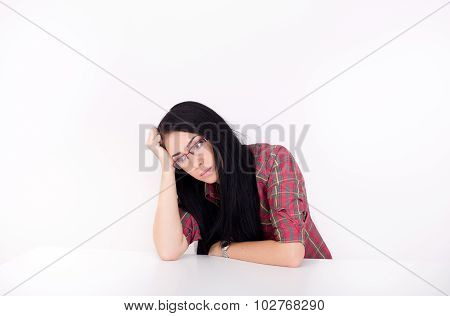 Tired Woman At Table