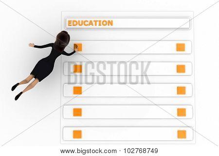 3D Woman  Education Concept