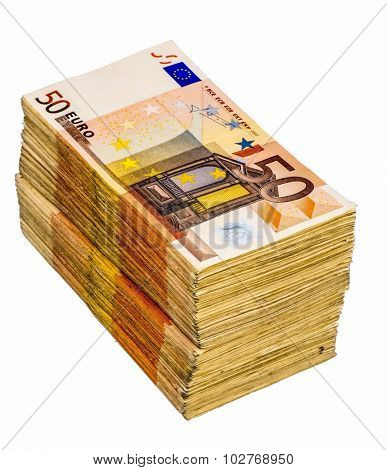 stack of many fifty euro banknotes. symbolfoto for money, wealth, income and spending