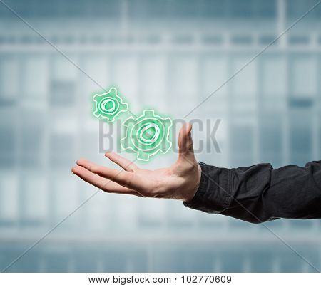 Businessman Holding A Virtual Tool