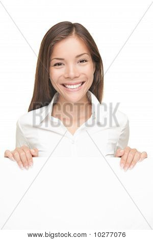 Woman Showing White Sign Isolated