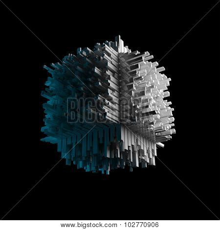 Abstract Flying Cubic Object Isolated On Black