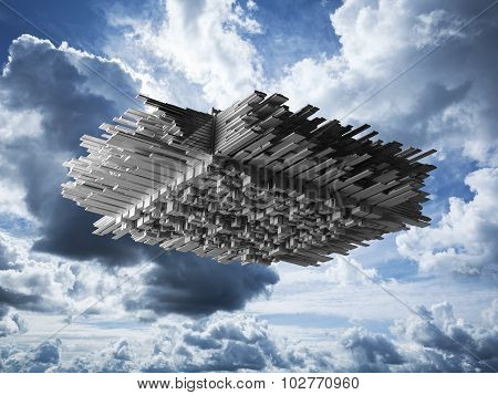 Abstract Flying Object In Cloudy Sky
