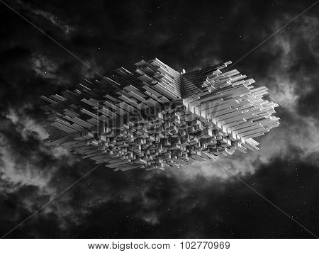 Abstract Spaceship With 3D Extruded Surface