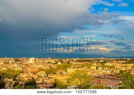 Panorama Of Rome At Sunset On A Cloudy Day