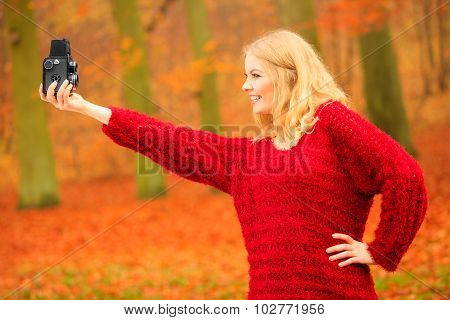 Woman With Old Camera Outdoor