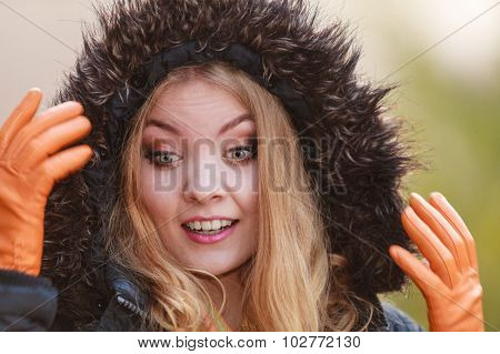 Portrait Pretty Smiling Woman In Jacket With Hood.
