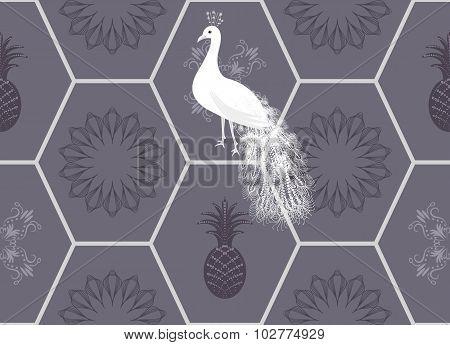 Honeycomb floor tile seamless pattern
