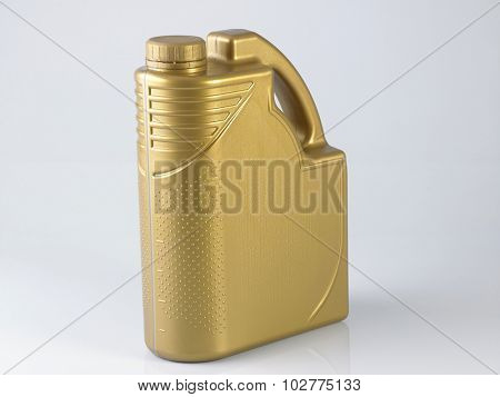 golden canister with engine oil on white background