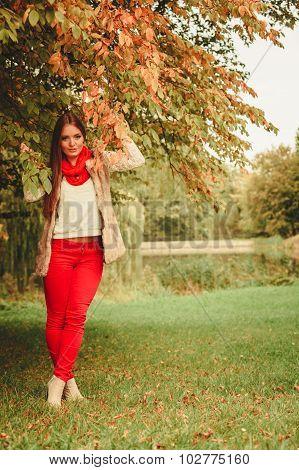 Portrait Girl Relaxing Walking In Autumnal Park.