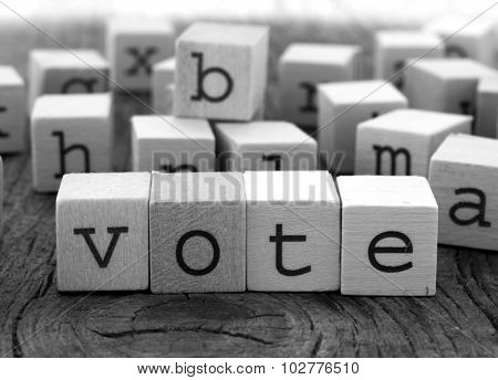 Vote word made of wooden letters