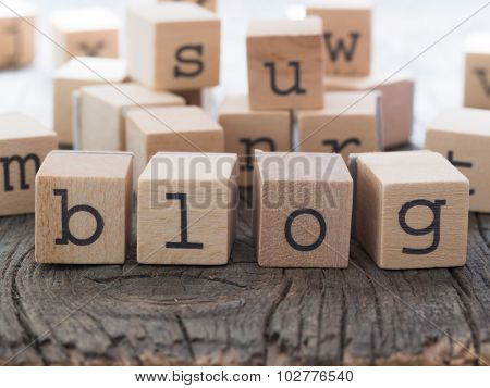 BLOG word made of wooden letters