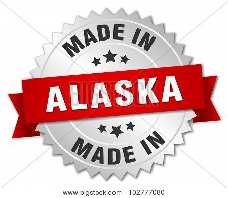 Made In Alaska Silver Badge With Red Ribbon