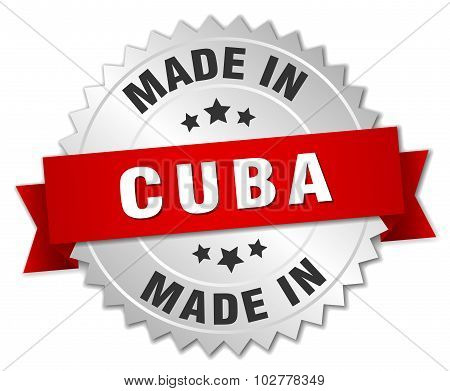 Made In Cuba Silver Badge With Red Ribbon