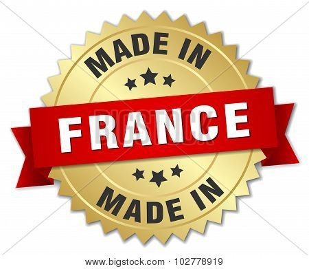 Made In France Gold Badge With Red Ribbon