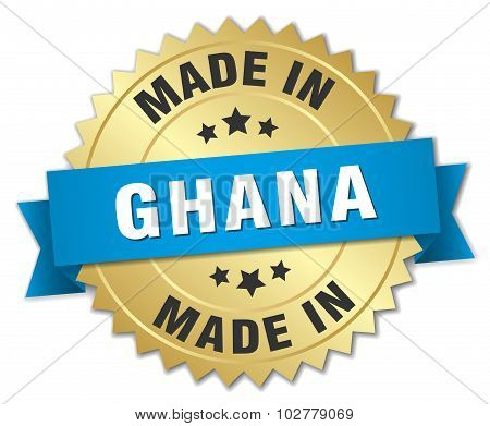 Made In Ghana Gold Badge With Blue Ribbon