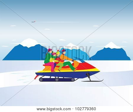 Happy Family On A Snowmobile In The Mountains. Winter, Christmas Vacation.