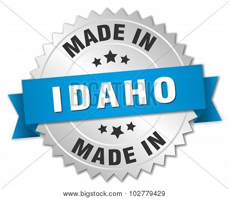 Made In Idaho Silver Badge With Blue Ribbon