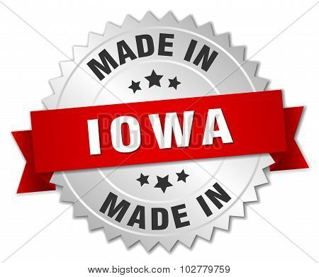 Made In Iowa Silver Badge With Red Ribbon