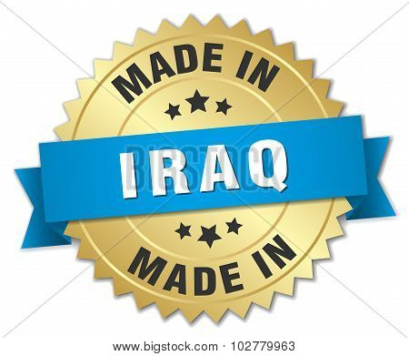Made In Iraq Gold Badge With Blue Ribbon
