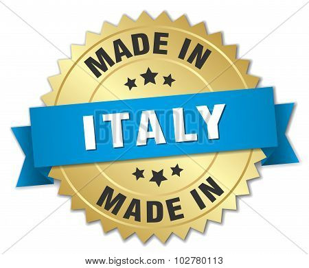 Made In Italy Gold Badge With Blue Ribbon