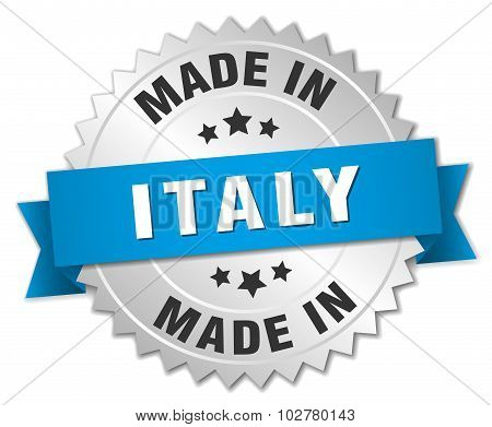 Made In Italy Silver Badge With Blue Ribbon