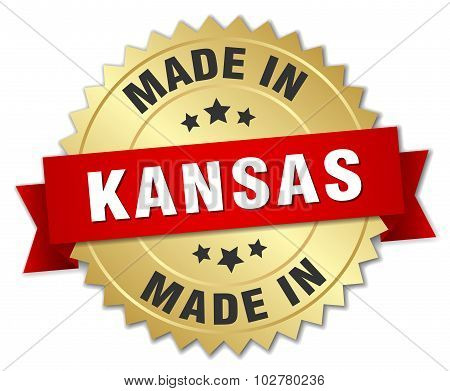 Made In Kansas Gold Badge With Red Ribbon