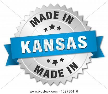 Made In Kansas Silver Badge With Blue Ribbon
