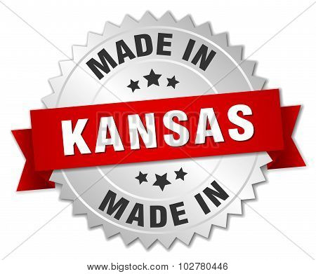 Made In Kansas Silver Badge With Red Ribbon