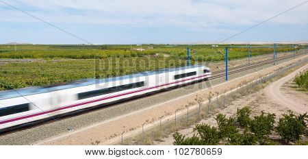 view of a high-speed train crossing a field in Ricla, Zaragoza, Aragon, Spain. AVE Madrid Barcelona.