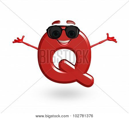 Cartoon Character Of Alphabet Q With Goggles