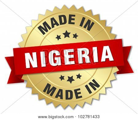 Made In Nigeria Gold Badge With Red Ribbon