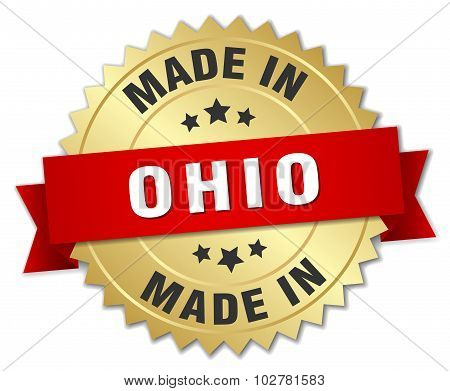 Made In Ohio Gold Badge With Red Ribbon