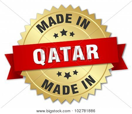 Made In Qatar Gold Badge With Red Ribbon