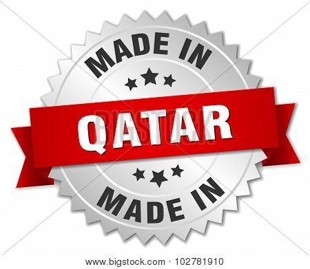 Made In Qatar Silver Badge With Red Ribbon
