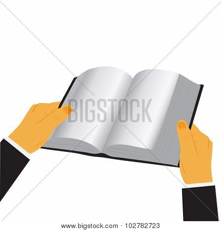 hands holding book isolated over white background