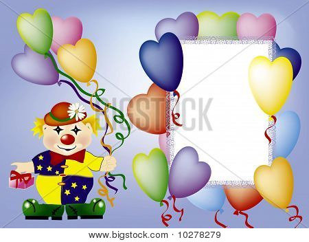 The invitation-card with clown