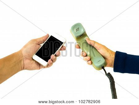Old And New Telephone