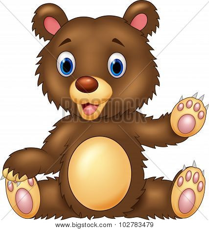 Cartoon happy bear presenting