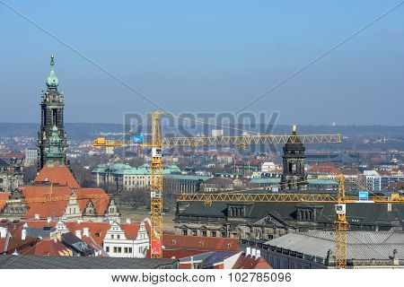 View From Kreuzkirche Bell Tower Towards Dresden Cathedral, Saxony, Germany.