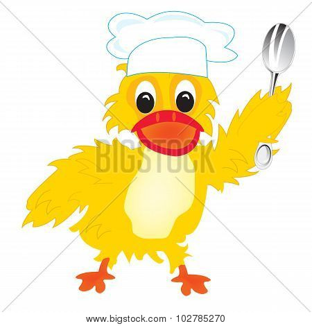 Cartoon of the duck of the cook