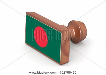 Wooden Stamp With Bangladesh Flag