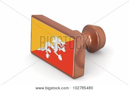 Wooden Stamp With Bhutan Flag