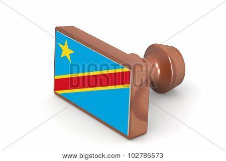 Wooden Stamp With Democratic Republic Of The Congo Flag