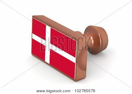 Wooden Stamp With Denmark Flag