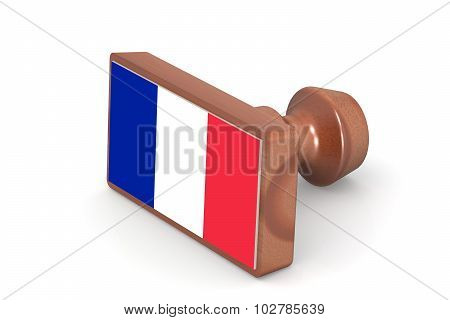 Wooden Stamp With France Flag