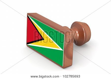 Wooden Stamp With Guyana Flag
