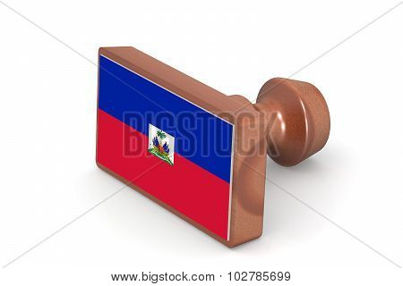 Wooden Stamp With Haiti Flag