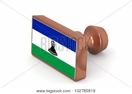 Wooden Stamp With Lesotho Flag