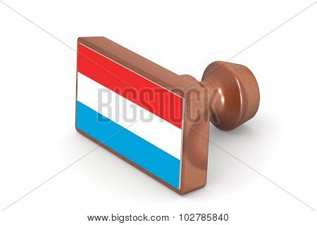 Wooden Stamp With Luxembourg Flag
